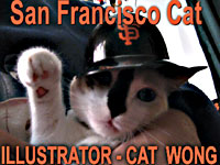 San Francisco Giants Baseball Team Fan - and Cat Wong illustrators helper waves  - CLICK FOR INFO RE CAT WONG