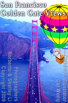 Photo of San Francisco's Golden Gate Bridge  taken by Norberto Li, dentisit with hotair balloon children's illustration of Clara and Clarence Bear characters