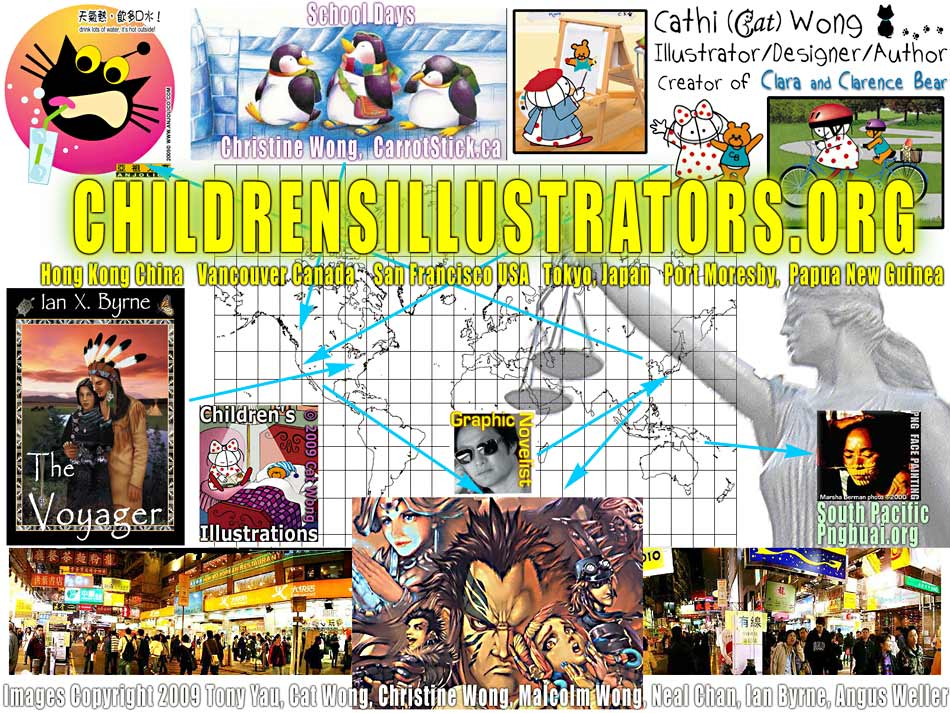 Children's illustrators sample collage of cartoon characters, illustrations, California's San Francisco children's illustrators,  Manga Comic Cover art from Japan, photos of Hong Kong and Papua New Guinea and Vancouver Canada overlaid on Mercator Map Projection