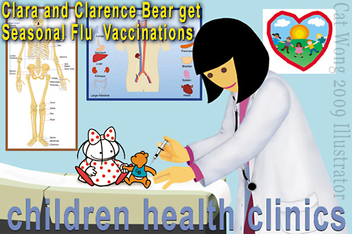 Cat Wong's 2 childrens characters Clara and Clarence Bear getting H1N1 flu vaccine at doctors office. - an image to desensitize children to getting an injection