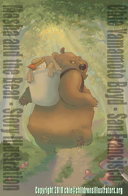 Prototype of cover design or full page illustration inside childrens story  book about Marsha and Bear, illustration by Chie Yamamoto Boyd