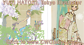 soft fanicful colors in 2 fashion illustrations by Yuki Hatori, Japnese illustror in Tokyo CLIDK FOR ENLARGEMNETS